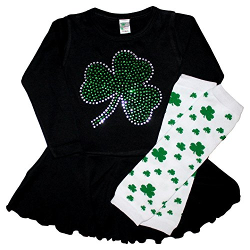 FanGarb Toddler/Girls Crystal ST Patrick's Day Shamrock Dress & Leg Warmers 12mo-7yr (2-3T, Prime Black)