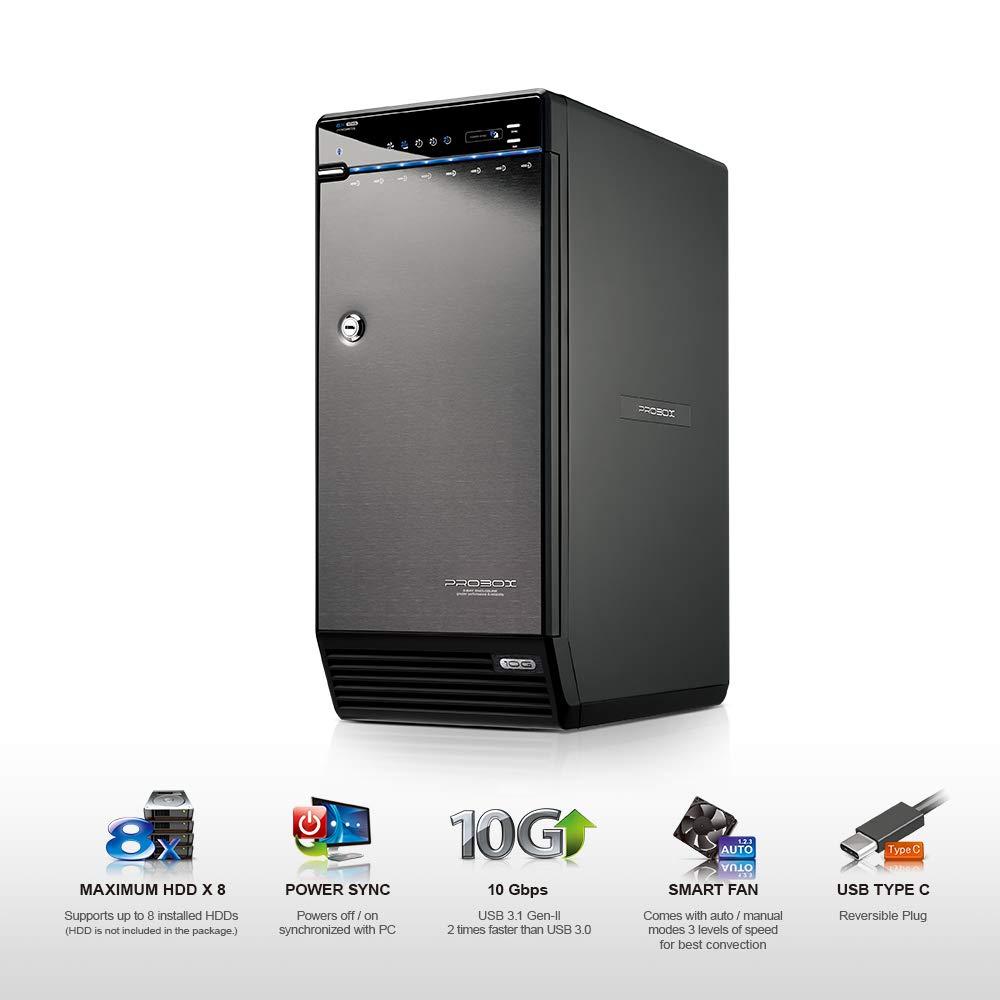 Mediasonic USB 3.1 Type C 8 Bay 3.5-inch Hard Drive Enclosure – USB 3.1 Gen 2 10Gbps Support UASP/S.M.A.R.T / 12TB Hard Drive (H82-SU31C)