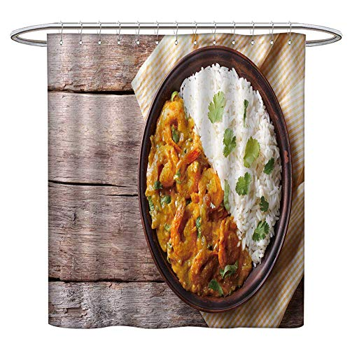 (Jiahonghome Modern Shower Curtain for Bathroom Shrimps in Curry Sauce Rice on a plaate Horizontal View from Above Fabric Bathroom Decor Set with Hooks W 55 x L 72 INCH)