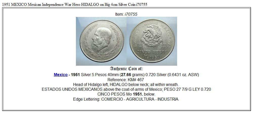 1951 MX 1951 MEXICO Mexican Independence War Hero HIDALGO 5 Pesos Good Uncertified at Amazons Collectible Coins Store