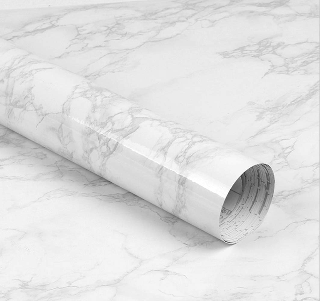 LEEYA Marble Contact Paper 15.8''X78.7'' Removable Adhesive Faux Decorative Wallpaper Gloss Vinyl Film for Countertop Cabinet Furniture Waterproof 797566796859