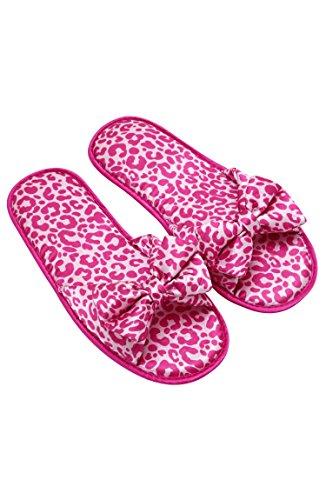 Macbeth Womens Printed Satin House & Bedroom Slippers w/ Decorative Bow - Ladies Loungewear Hot Pink Leopard TOk7aQLt
