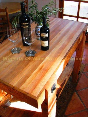 Wine Barrel Creations Inc. Butcher Block Center Island w/Shelf, Wine Bottle & Glass Rack Review