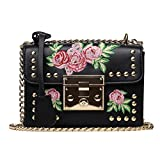 Kimloog Embroidery Rose Crossbody Shoulder Bags Chain Clutch Coin Purse Handbags (Black)