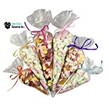 50 Cone Sweet Bags Large Size - Cello Party Candy Display - Clear Cellophane - Kids Childrens Birthday Wedding Favours Food Safe 18cm x 37cm
