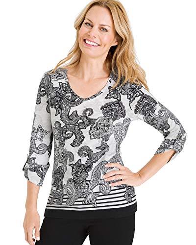 (Chico's Women's Zenergy Scroll-Print Stripe-Detail Top Size 16/18 XL (3) Alabaster)
