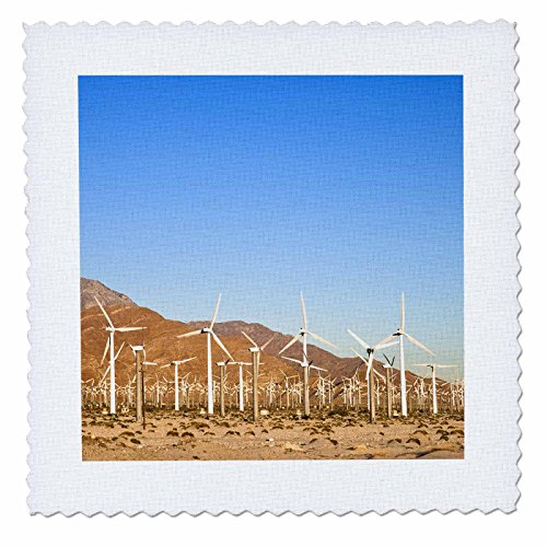 3dRose qs_88418_2 Palm Springs, energy wind turbines, California - US05 IST0012 - Inti St. Clair - Quilt Square, 6 by - Palm Springs Desert Hills