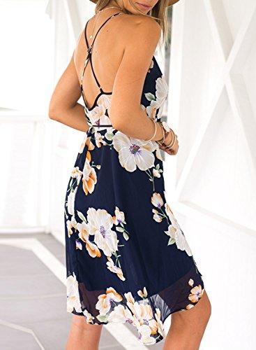 Azbro Mujer Vestido de Gasa Asimétrico Estampado Floral Tirantes Espaguetis Varios colores