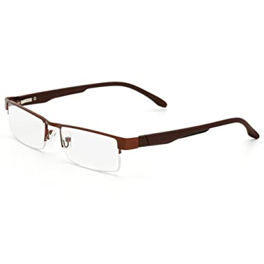 a17ce81000 VEVESMUNDO Reading Glasses Men Women Metal Half Rimless Flexible Temple  Optical Presbyopic Eyeglasses 1.0 1.5 2.0 2.5 3.0 3.5 4.0 Brown Black Grey   ...