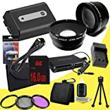 NPFH50 Lithium Ion Replacement Battery w/Charger + 16GB SDHC Memory Card + Mini HDMI + 3 Piece Filter Kit + Wide Angle/Telphoto Lenses + USB SD Memory Card Reader /Wallet + Deluxe Starter Kit for Sony DCRDVD508, DCRDVD408, DCRDVD308, DCRDVD108, DCRDVD505,