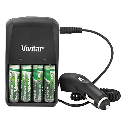 Vivitar AC/DC Rapid Battery Charger with Four 2100 mAh AA Ni-MH Batteries and Car Adapter