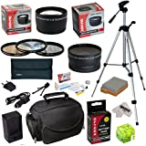"""Must Have Accessory Kit For Canon EOS T2i T3i T4i T5i 550D 600D 650D 700D Kiss X4 X5 X6i X7i DSLR Digital Camera includes - 58mm 3 Piece Pro Filter Kit (UV, CPL, FLD) + 2.2x High Definition II Telephoto Lens + 0.43x High Definition II Wide Angle Panorama Macro Fisheye Lens + LP-E8 LPE8 Ultra High Capacity 2000mAh Replacement Lithium-ion Battery Pack with Rapid AC/DC Wall Car Travel Battery Charger With European Adapter + 54"""" Inch Professional Video Tripod + Deluxe Photo/Video Camera Case Bag +"""