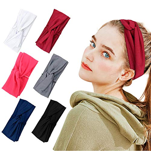 Headbands For Women Bandana Hair 6pcs Yoga Wide Outdoor Sport Workout Turban Bands Sweat Wicking Scarf Wrap Fitness Fashion Non Slip Elastic Knotted Vintage Hippie Bow Cloth Soft Headband Adult