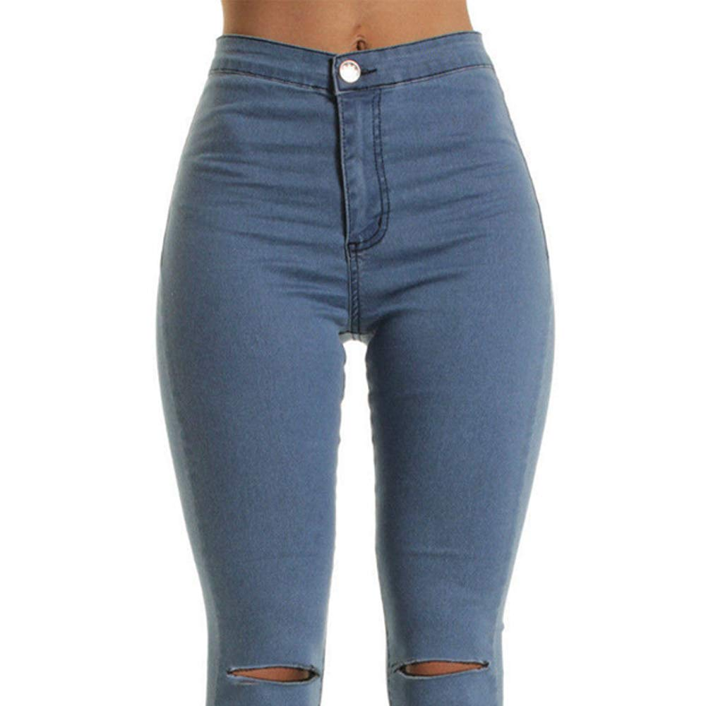 Luiyy Jeans Strappati al Ginocchio Donna Pantaloni Stretti Vita Alta Skinny Jeans Elasticizzati Pantaloni Taglie Forti Denim Leggings Pantaloni Ragazza Hip Hop Pants Blu//Bianco//Nero,S-XXL