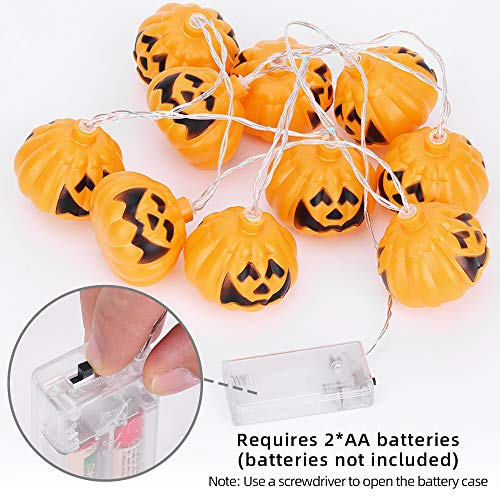 OUSFOT Halloween Pumpkin String Lights Battery Operated 66 Inches 10 LED Fairy Lights for Halloween Party Bedroom Decoration Indoor/Outdoor (Pumpkin String Lights)