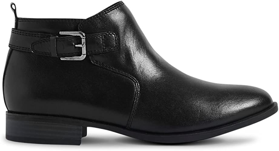 Leather Block Heel Ankle Boots