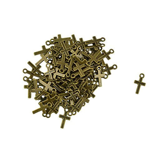 MonkeyJack Lots Of 200 Pieces Antique Bronze Cross Charms Pendant Jewelry Craft DIY (Cross Pendant Craft)