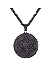 Gold/Black/Silver Coin Medal Shape Round Pendant Jewish Jewelry Shield of David Star of Magen David Necklace