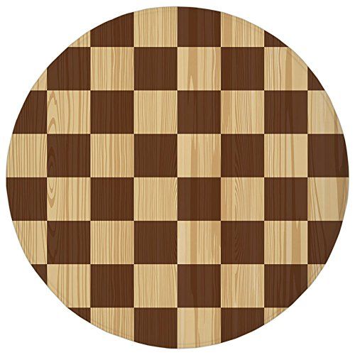Round Rug Mat Carpet,Checkered,Empty Checkerboard Wooden Seem Mosaic Texture Image Chess Game Hobby Theme,Brown Light Brown,Flannel Microfiber Non-slip Soft Absorbent,for Kitchen Floor Bathroom Round Shape Checkerboard