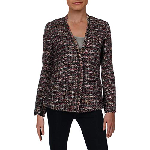 Etro Milano Womens Wool Blend Fringe Knit Blazer Multi 44