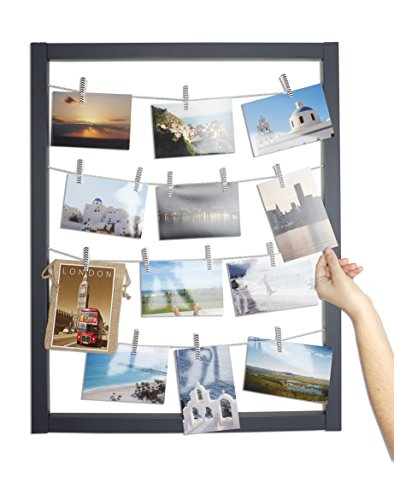 Reimagine Hanging Photo Display- Wood Wall Picture Frame Collage Board for Hanging Prints, Instax, Holiday Cards, Artwork- Display 2 Ways- Adjustable String, Chevron Clothespin Clips- Gunmetal Grey (Photo Tape Gun)
