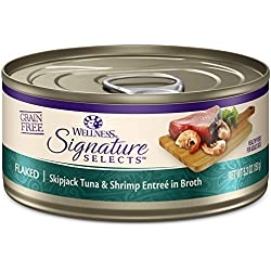 Wellness Core Signature Selects Grain Free Wet Canned Cat Food, Flaked Skipjack Tuna & Shrimp, 5.3-Ounce (Pack Of 12)