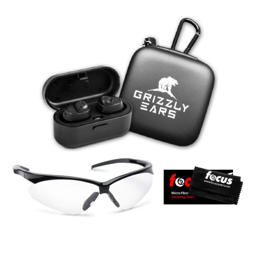 Grizzly Ears Predator Pro Bluetooth Shooting Earmuffs & Shooting Glasses Bundle. Amplifies Sound, Reduces Gunshot Noise - Pairs with Phone - Charging Case and Focus Cleaning Cloth Included (3 Items) by Grizzly Ears