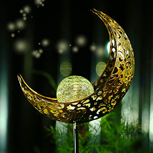 Belio Garden Solar Lights Outdoor Solar Powered Lights, Moon Crackle Glass Globe Garden Stake Lights, Waterproof LED Solar Lights Outdoor Decorative Pathway for Garden, Lawn, Patio, Yard ()