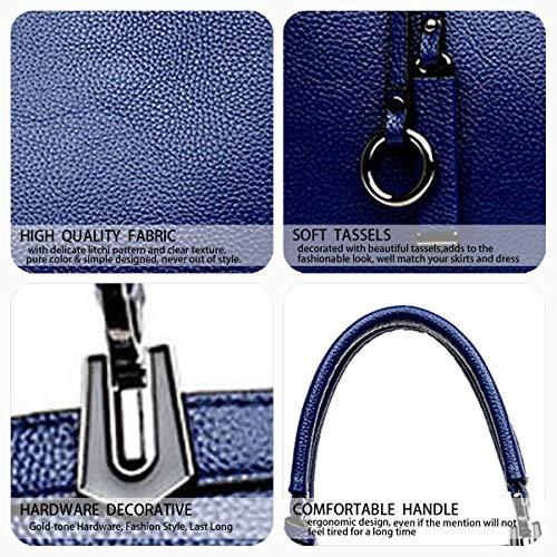 épaule portés à Sacs Sacs Cartable Sacs DEERWORD Cuir Sacs main bandoulière Femme main portés Bleu Faux Sacs wFWf4z
