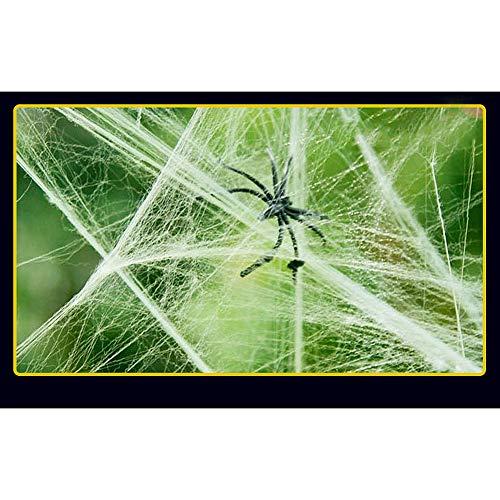 (ASILETO Halloween Decorations Cotton Spider Web Stretch Up to 16ft Festival Prop Scene Arrangement Party Supplies White/Black/Purple/Orange, White,)