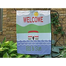 Personalized Pontoon Flag, Custom Family Name Garden or House Flag, Pontoon Flag, Holiday Banner, Yard Flag.