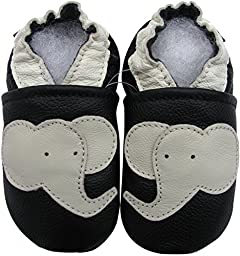 Carozoo Toddler Kids Unisex Elephant Black Soft Sole Leather Baby Shoes 3M 7-8y