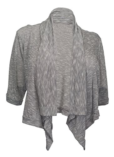 EVogues Plus Size Shawl Collar Striped Cropped Cardigan Gray - 2X