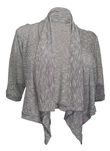 EVogues Plus Size Shawl Collar Striped Cropped Cardigan Gray - 2X