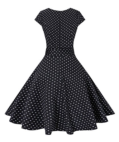 Vogtage Vintage Waistband BestWendding Dot Polka Black 1950's Dress Color point amp;Solid Swing AxROqw