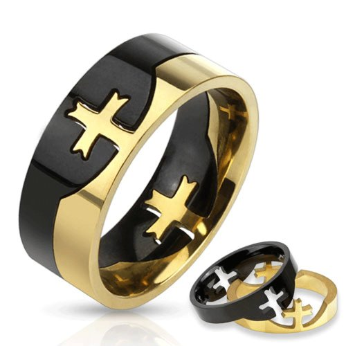 STR-0159 Stainless Steel Two Tone Cross Puzzle Ring ()