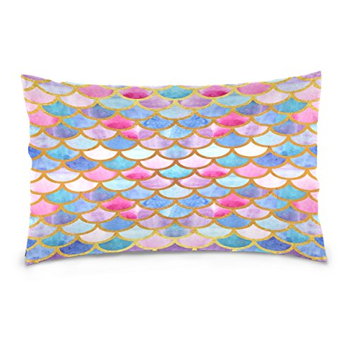 ALAZA Rainbow Mermaid Scale Cotton Standard Size Pillowcase 26 X 20 Inches Twin Sides, Colorful Fish Scale Pillow Case Sham Cover Protector Decorative for Couch Ded