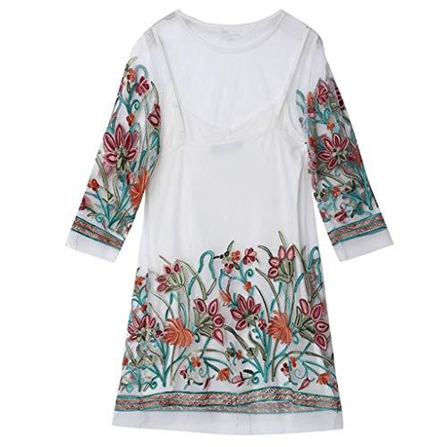 Keliay Summer Dress for Women's Ladies Seven Quarter Sleeve Mesh Round Neck Embroidery Dress White
