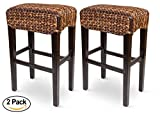 Bird Rock Hand Woven Seagrass Backless Barstool (Bar Height) | Set of 2 | Mahogany Wood Frame | Fully Assembled For Sale