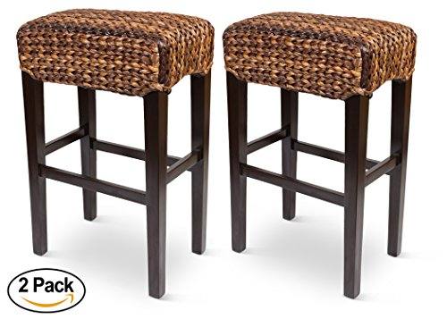 Bird Rock Hand Woven Seagrass Backless Barstool (Bar Height) | Set of 2 | Mahogany Wood Frame | Fully Assembled (Seagrass Counter Stools)
