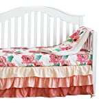 3-pcs-Set-Boho-Floral-Ruffle-Baby-Minky-Blanket-Peach-Floral-Nursery-Crib-Skirt-Set-Baby-Girl-Crib-Bedding-Coral