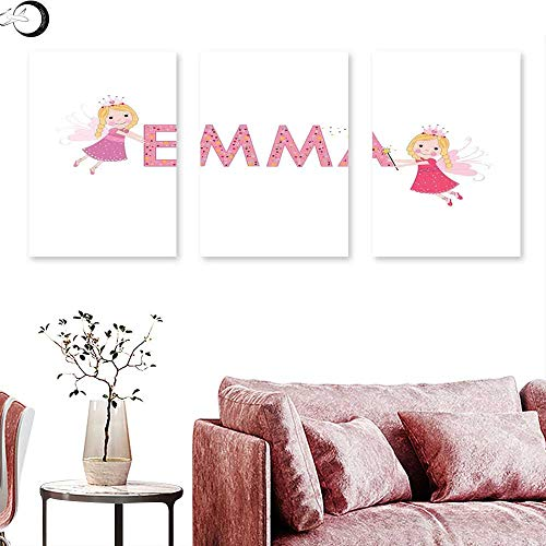 vas Prints Wall Art Cute Fairy Princesses Holding a Popular Widespread Girl Name with Polka Dots Pattern Triptych Wall Art Multicolor Triptych Art Canvas W 16