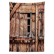 Rustic Tablecloth Decor Abandoned Damaged Oak Barn Door with Iron Hinges and Lateral Cracks Knock Theme Dining Room Kitchen Rectangular Table Cover Light Rosewood