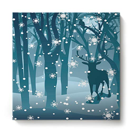 EZON-CH Canvas Wall Art Square Oil Painting Modern Artworks Office Home Decor,Merry Christmas Winter Reindeer in The Blue Forest Canvas Artworks,Stretched by Wooden Frame,Ready to Hang,28 x 28 Inch