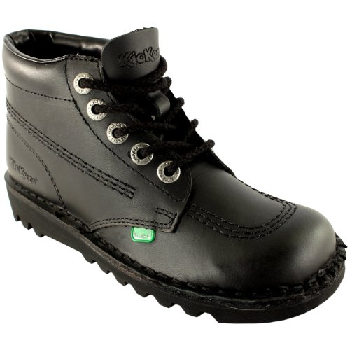Womens Kickers Kick Hi Classic Leather Office Work Ankle Boots Shoes Black/Black XFXbX