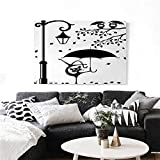 """homehot Cat Modern Canvas Painting Wall Art Funny Kitty with Umbrella Dancing Under Street Lantern in Town Urban Humorous Print Art Stickers 48""""x32"""" Black White"""