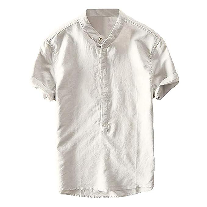 online store a577b 387eb Camicia Uomo Slim Fit Lino VJGOAL Camicie Uomo Maniche Corte ...