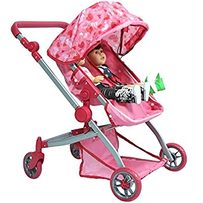 Deluxe Doll Twin Stroller - Pink Hearts Design Mega Twin Stroller for 18 inch Dolls: Toys & Games