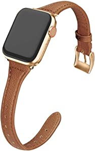 MARGE PLUS Compatible Apple Watch Band 38mm 40mm Women, Slim Genuine Leather Watch Strap Replacement for iWatch SE Series 6 5 4 3 2 1, (Brown Band paired with Champagne Gold Adapter)