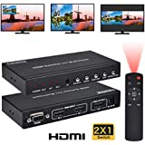 HDMI 2X1 MultiViewer, 1080P 2 in 1 out HDMI Switch Screen Splitter with PIP POP Mode, Seamless Switch with IR Remote RS232 for Console